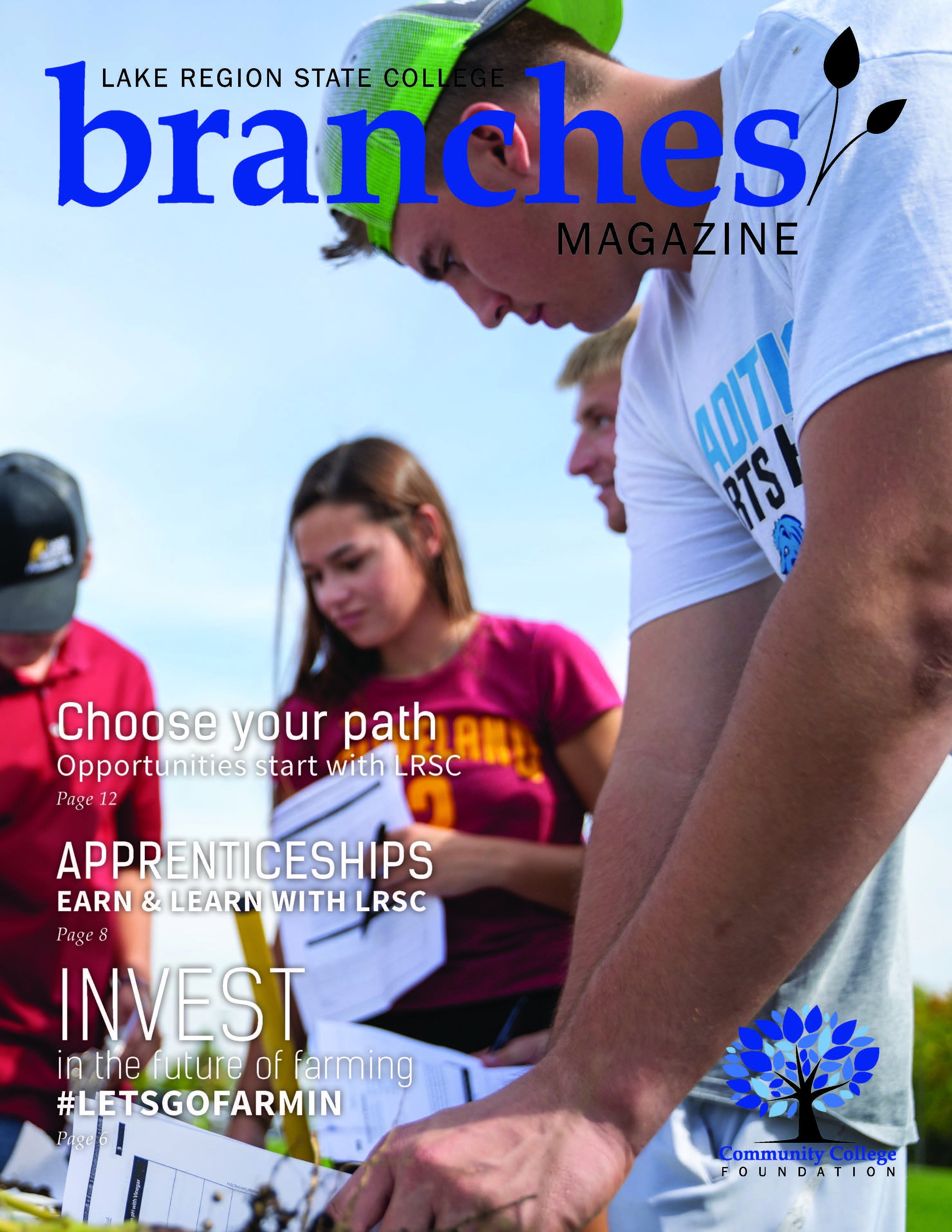 Branches Magazine Fall 2019; cover, Precision Ag students working with soil.
