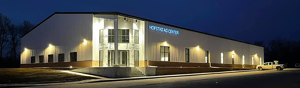 Hofstad Ag Center at night