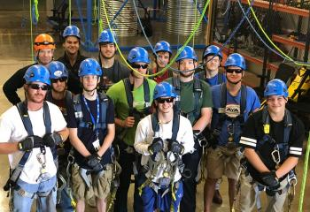 Wind Energy students working with rope access